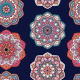 Fondo tradicional adornado colorido del rosa, anaranjado y azul ilustración del vector