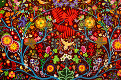Fondo tradizionale fatto a mano Colourful dell'estratto del tessuto della coperta Fotografia Stock