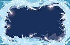 Fondo transparente azul con el marco escarchado Foto de archivo libre de regalías