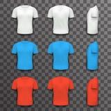 Fondo transparente determinado de diverso de los colores de la camiseta de Front Side Back View Template icono realista del diseñ stock de ilustración