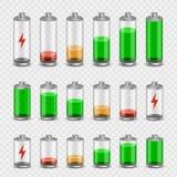 Fondo transparente determinado del icono de la batería stock de ilustración