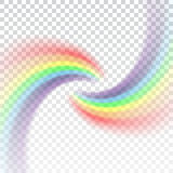 Fondo trasparente bianco realistico dell'icona dell'arcobaleno Fotografia Stock Libera da Diritti