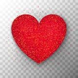Fondo trasparente del cuore rosso di scintillio Immagini Stock Libere da Diritti