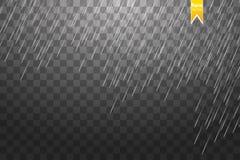 Fondo trasparente del modello della pioggia Struttura di caduta delle gocce di acqua Piovosità della natura su fondo a quadretti Immagine Stock Libera da Diritti