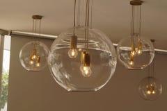 Fondo trasparente sferico delle lampade Immagini Stock