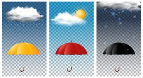 Fondo tres con el paraguas en diversas estaciones libre illustration