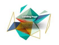 Fondo triangolare dell'estratto di progettazione, pagina d'atterraggio Triangoli variopinti di poli stile basso su bianco Fotografia Stock