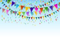 Fondo triangular de las banderas del festival ilustración del vector