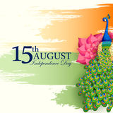 Fondo tricolor indio para décimo quinto August Happy Independence Day de la India Imagen de archivo libre de regalías