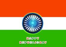 Fondo tricolore della bella della repubblica bandiera indiana felice di giorno Fotografia Stock Libera da Diritti