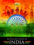 Fondo tricolore indiano che saluta gli eroi reali dell'India che mostrano forza armata e le donne pilota royalty illustrazione gratis