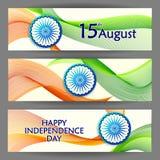 Fondo tricolore indiano per quindicesimo August Happy Independence Day dell'India Immagine Stock Libera da Diritti