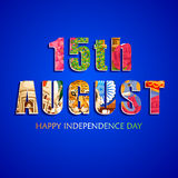 Fondo tricolore indiano per quindicesimo August Happy Independence Day dell'India Immagine Stock