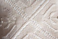 Fondo tricottato bianco Tessuto lavorato a maglia fotografia stock libera da diritti