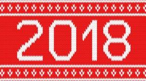 Fondo tricottato con l'iscrizione 2018 Fotografia Stock