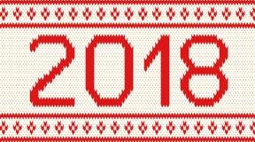 Fondo tricottato con l'iscrizione 2018 Fotografia Stock Libera da Diritti
