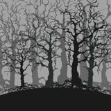Fondo triste della foresta del fumetto degli alberi senza foglie illustrazione vettoriale