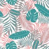 Fondo tropical con las hojas de palma stock de ilustración
