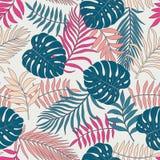 Fondo tropical con las hojas de palma Modelo floral inconsútil S ilustración del vector