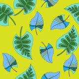 Fondo tropical con las hojas de palma y las flores Modelo floral inconsútil Ejemplo del vector del verano stock de ilustración