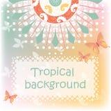 Fondo tropical con las mariposas Fotografía de archivo libre de regalías