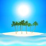 Fondo tropical de la isla y de las palmeras Imagenes de archivo