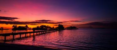 Fondo tropical de la puesta del sol de la playa Imagenes de archivo