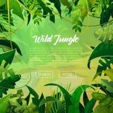 Fondo tropical de las hojas de la bandera de la selva Cartel de las palmeras stock de ilustración