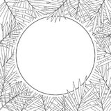 Fondo tropical de las hojas de palma blanco y negro Imágenes de archivo libres de regalías