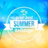 Fondo tropical del vector de la playa del verano con la insignia libre illustration