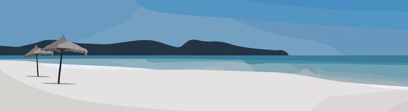 Fondo tropical del vector de la playa Ejemplo de la opinión del mar Panorama del tiempo de verano foto de archivo