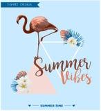 Fondo tropical Diseño del verano Gráfico de la moda de la camiseta de la muchacha Imagen de archivo libre de regalías