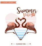 Fondo tropical Diseño del verano Gráfico de la moda de la camiseta de la muchacha Imagenes de archivo