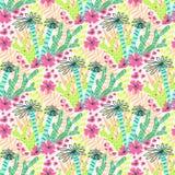 Fondo tropical inconsútil del estampado de flores de la selva del vector hermoso con las palmeras Fotografía de archivo libre de regalías