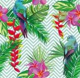 Fondo tropical inconsútil hermoso del estampado de flores de la selva con las hojas de palma stock de ilustración