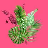 Fondo tropicale con le foglie di palma dell'acquerello Fotografia Stock Libera da Diritti
