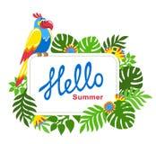 Fondo tropicale con le foglie di palma, i fiori esotici ed il pappagallo variopinto illustrazione di stock