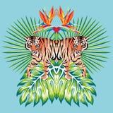Fondo tropicale del blu delle foglie della stampa dello specchio della tigre Fotografia Stock