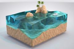 fondo tropicale dell'acquario isolato 3D Immagini Stock Libere da Diritti