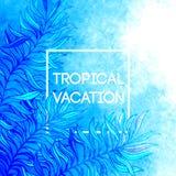 Fondo tropicale della foglia della palma dell'acquerello Progettazione tropicale di vacanza Illustrazione di vettore Immagini Stock Libere da Diritti