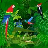 Fondo tropicale della giungla della foresta pluviale di vettore senza cuciture con gli animali dei bambini Fotografie Stock