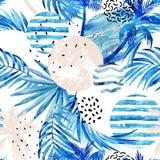 Fondo tropicale delle palme e delle foglie di estate astratta illustrazione vettoriale