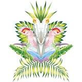 Fondo tropicale di bianco delle foglie dello specchio del pappagallo royalty illustrazione gratis