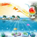 Fondo tropicale di tema del mare con area di testo e del cocktail Immagini Stock Libere da Diritti