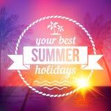 Fondo tropicale di tramonto di estate con il distintivo del testo Immagini Stock Libere da Diritti