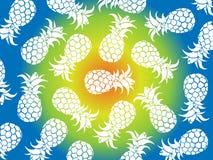 Fondo tropicale di vettore degli ananas bianchi con il fondo di colori gialli, blu, verdi come vettore per i modelli della spiagg fotografia stock libera da diritti