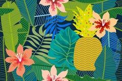 Fondo tropicale variopinto con il monstera, palma e foglie e fiori della banana Immagini Stock