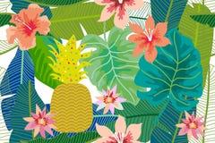 Fondo tropicale variopinto con il monstera, palma e foglie e fiori della banana Fotografia Stock