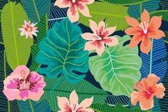 Fondo tropicale variopinto con il monstera, palma e foglie e fiori della banana Fotografie Stock