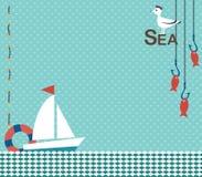 Fondo in un tema nautico con un posto per l'iscrizione Fotografia Stock